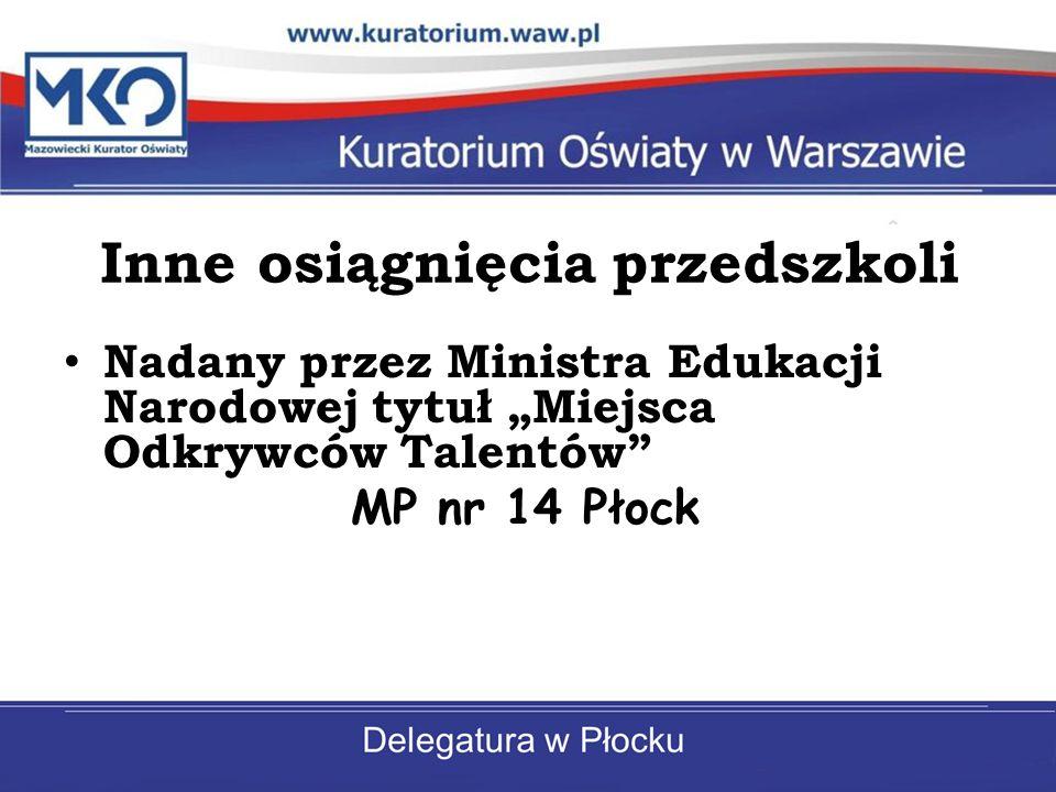 Inne osiągnięcia przedszkoli Nadany przez Ministra Edukacji Narodowej tytuł Miejsca Odkrywców Talentów MP nr 14 Płock