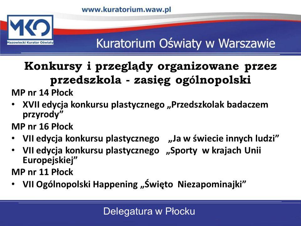 Konkursy i przeglądy organizowane przez przedszkola - zasięg og ó lnopolski MP nr 14 Płock XVII edycja konkursu plastycznego Przedszkolak badaczem prz