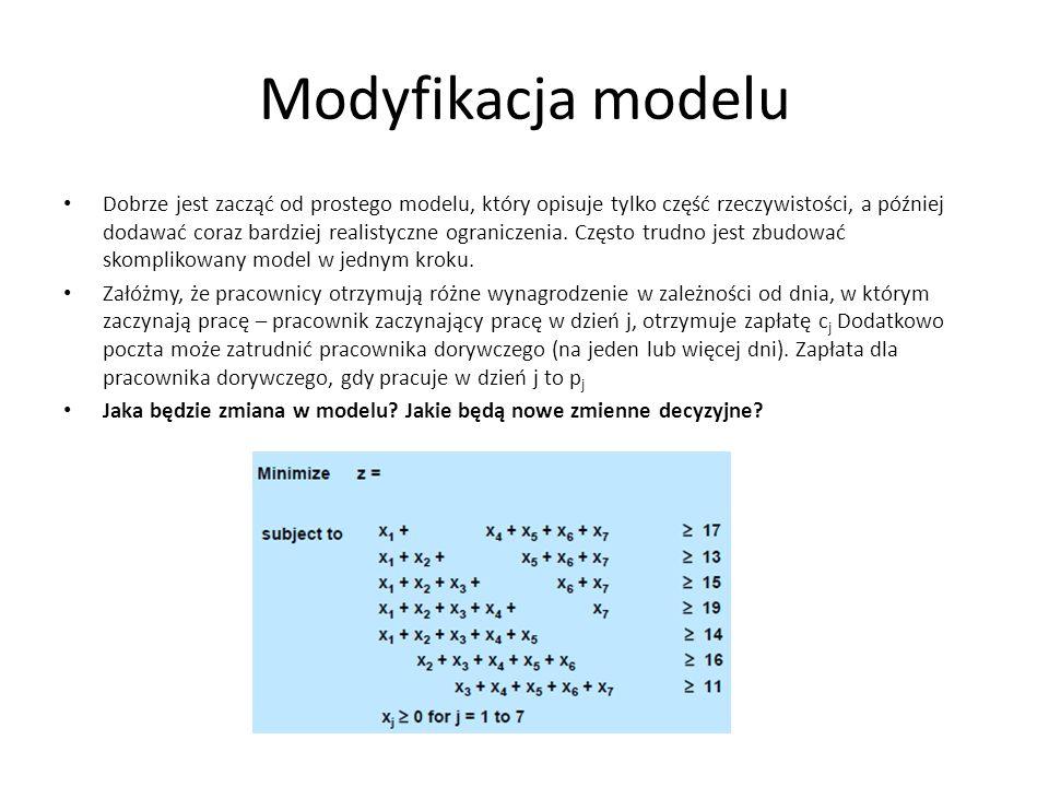 Modyfikacja modelu Dobrze jest zacząć od prostego modelu, który opisuje tylko część rzeczywistości, a później dodawać coraz bardziej realistyczne ograniczenia.