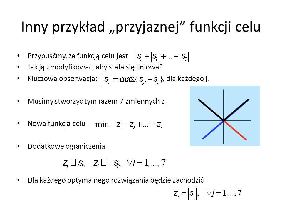 Inny przykład przyjaznej funkcji celu Przypuśćmy, że funkcją celu jest Jak ją zmodyfikować, aby stała się liniowa? Kluczowa obserwacja:, dla każdego j