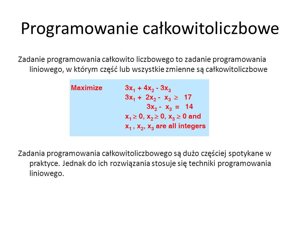 Programowanie całkowitoliczbowe Zadanie programowania całkowito liczbowego to zadanie programowania liniowego, w którym część lub wszystkie zmienne są