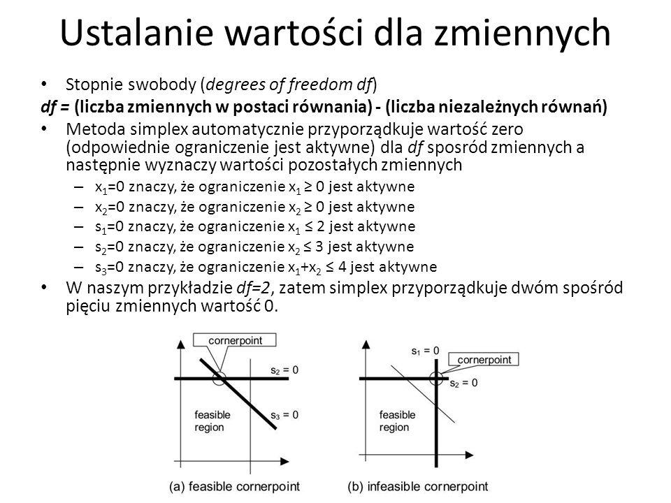 Ustalanie wartości dla zmiennych Stopnie swobody (degrees of freedom df) df = (liczba zmiennych w postaci równania) - (liczba niezależnych równań) Met