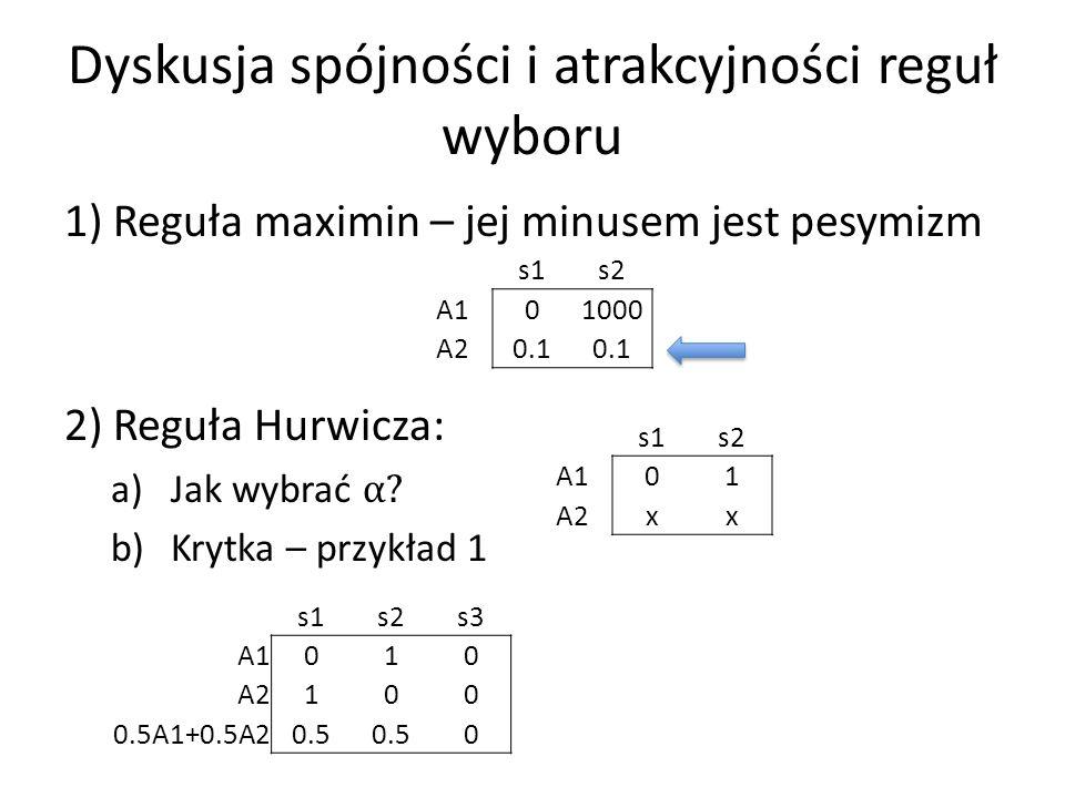 2) Reguła Hurwicza b)Krytyka – przykład 2 s1s2s3…s100 A1011…1 A2100…0 Obie akcje optymalne A1 wygląda dużo lepiej Zupełna ignorancja: powyższa sytuacja jest strategicznie równoważna tej: s1 s2 A101 A210