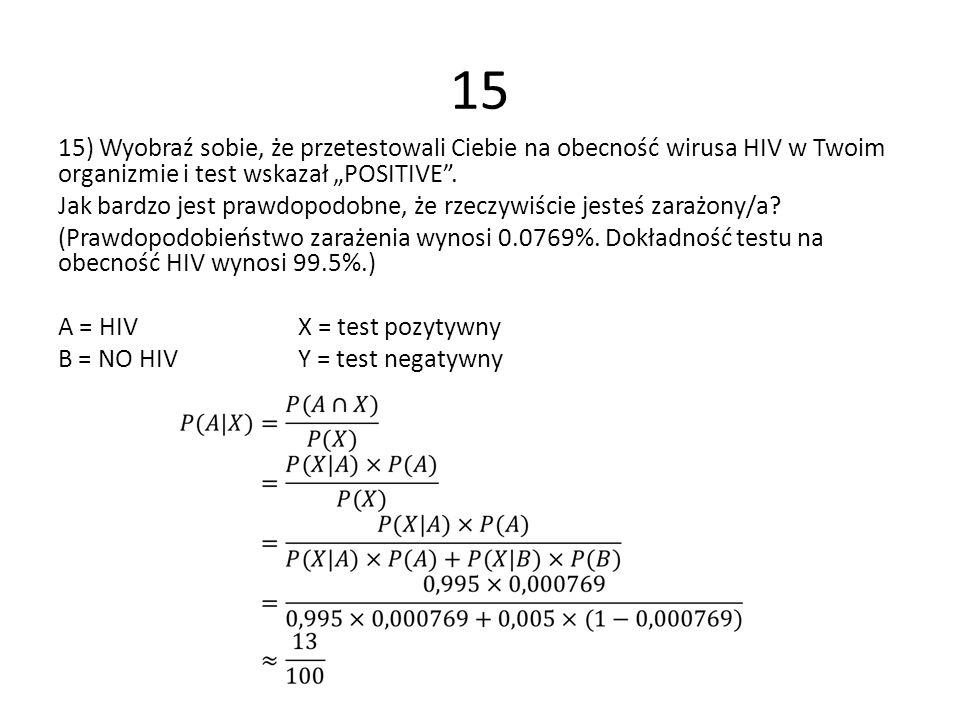 15 15) Wyobraź sobie, że przetestowali Ciebie na obecność wirusa HIV w Twoim organizmie i test wskazał POSITIVE. Jak bardzo jest prawdopodobne, że rze