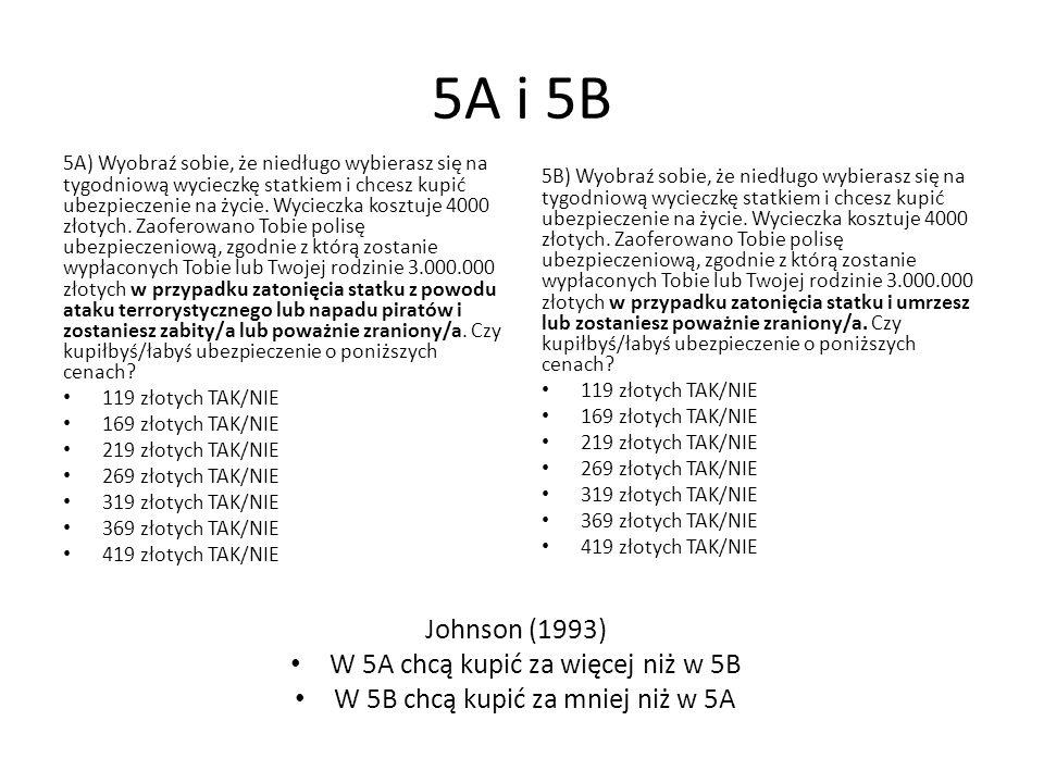 5A i 5B 5A) Wyobraź sobie, że niedługo wybierasz się na tygodniową wycieczkę statkiem i chcesz kupić ubezpieczenie na życie. Wycieczka kosztuje 4000 z
