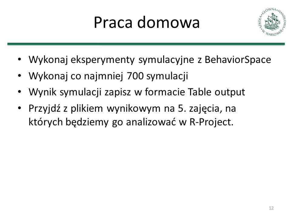Praca domowa Wykonaj eksperymenty symulacyjne z BehaviorSpace Wykonaj co najmniej 700 symulacji Wynik symulacji zapisz w formacie Table output Przyjdź
