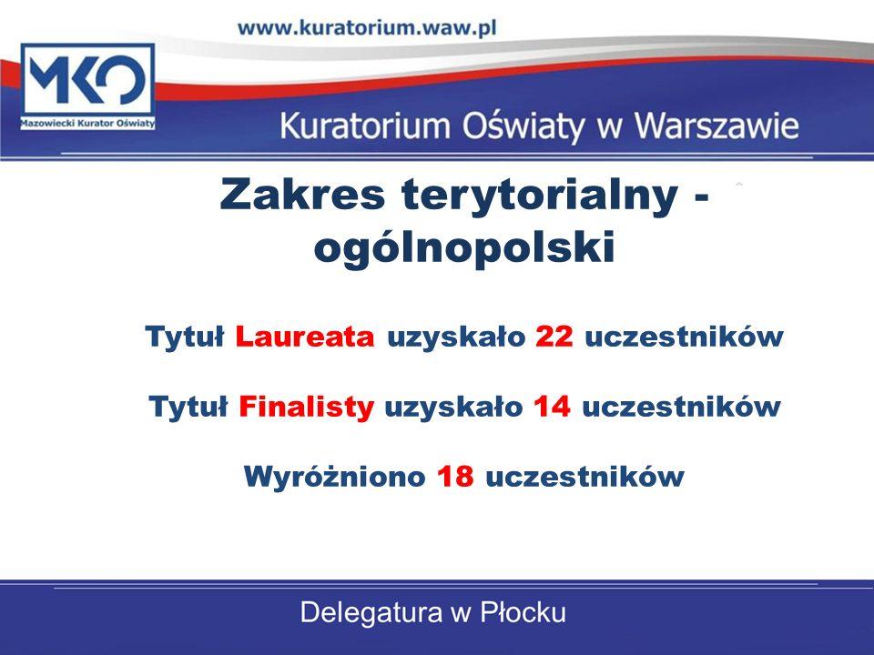 Zakres terytorialny - ogólnopolski Tytuł Laureata uzyskało 22 uczestników Tytuł Finalisty uzyskało 14 uczestników Wyróżniono 18 uczestników