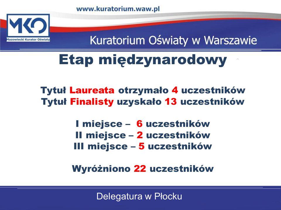 Etap międzynarodowy Tytuł Laureata otrzymało 4 uczestników Tytuł Finalisty uzyskało 13 uczestników I miejsce – 6 uczestników II miejsce – 2 uczestnikó