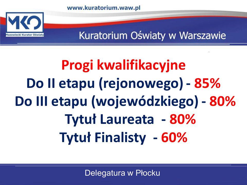 Progi kwalifikacyjne Do II etapu (rejonowego) - 85% Do III etapu (wojewódzkiego) - 80% Tytuł Laureata - 80% Tytuł Finalisty - 60%