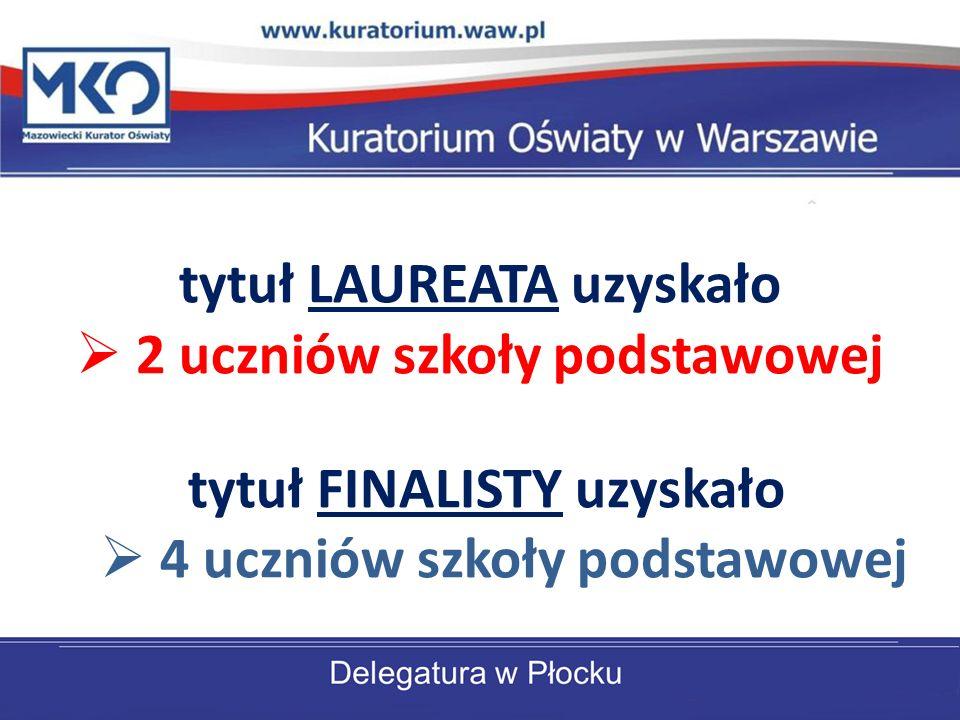 tytuł LAUREATA uzyskało 2 uczniów szkoły podstawowej tytuł FINALISTY uzyskało 4 uczniów szkoły podstawowej