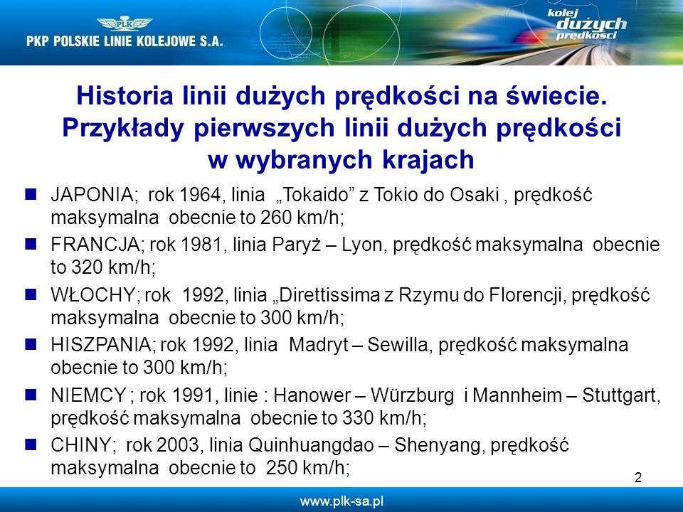 www.plk-sa.pl Relacja Czas przejazdu KDP (w tym linie zmodernizowane konwencjonalne) Warszawa - – Łódź0:35 (V=350) – Poznań1:35 (V=350) – Wrocław1:40 (V=350) – Kraków1:30 (V=300) – Katowice1:30 (V=300) – Szczecin2:45 (V=300) – Lublin1:00 (V=300) – Rzeszów2:00 (V=300) – Gdańsk1:40 (V=350) – Bydgoszcz1:30 (V=300) – Toruń1:10 (V=350) – Białystok1:25 (V=200) – Kielce1:25 (V=300/160) Przykładowe czasy przejazdu z Warszawy