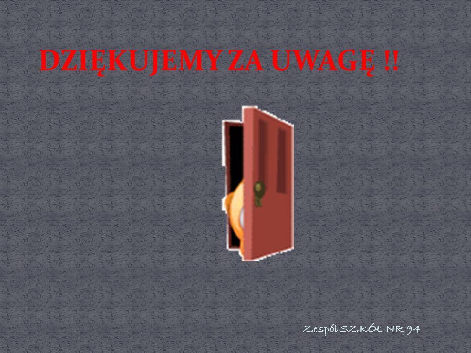 DZIĘKUJEMY ZA UWAGĘ !! Zespół SZKÓŁ NR 94