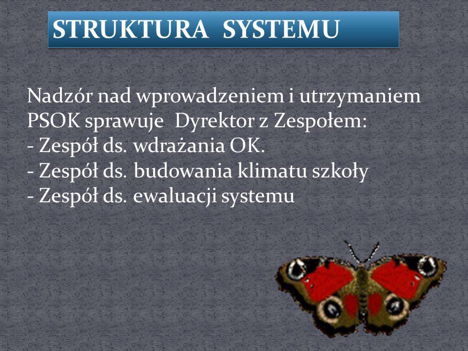 STRUKTURA SYSTEMU Nadzór nad wprowadzeniem i utrzymaniem PSOK sprawuje Dyrektor z Zespołem: - Zespół ds.