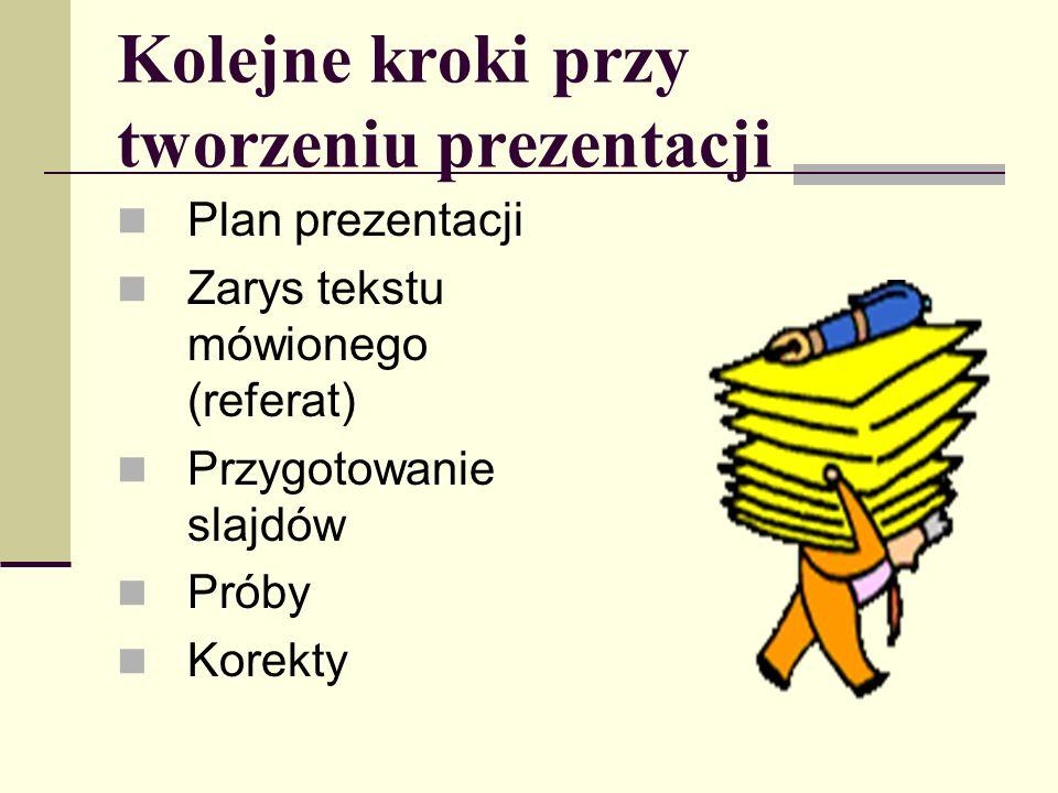 Kolejne kroki przy tworzeniu prezentacji Plan prezentacji Zarys tekstu mówionego (referat) Przygotowanie slajdów Próby Korekty