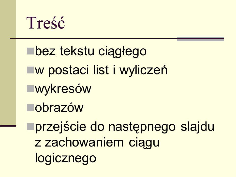 Treść bez tekstu ciągłego w postaci list i wyliczeń wykresów obrazów przejście do następnego slajdu z zachowaniem ciągu logicznego