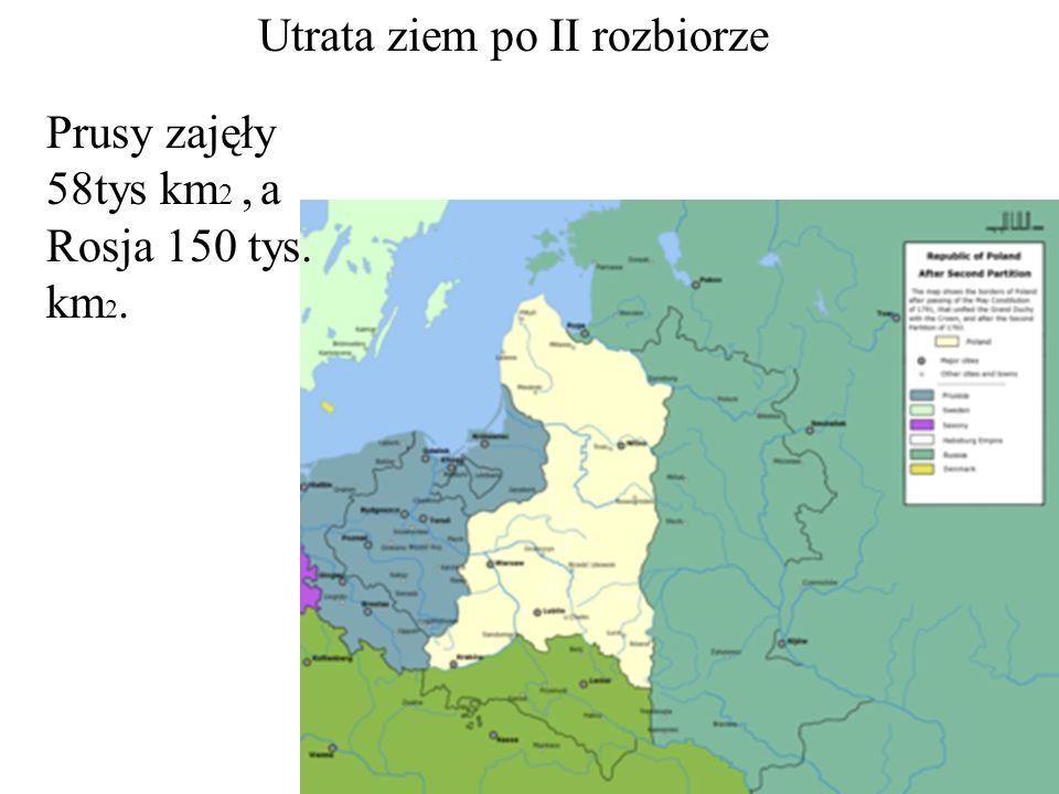 Utrata ziem po II rozbiorze Prusy zajęły 58tys km 2, a Rosja 150 tys. km 2.