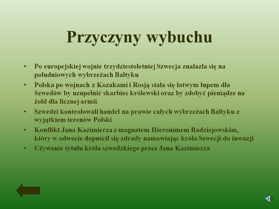 Pokój w Oliwie Okupacja Szwecji zakończyła się podpisaniem pokoju 3maja 1660r. w Oliwie. Straty Polski: ogromne zniszczenia materialne wielkie straty