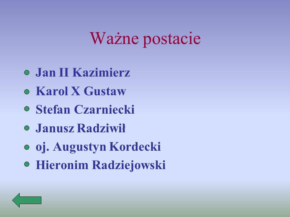 Ważne postacie Jan II Kazimierz Karol X Gustaw Stefan Czarniecki Janusz Radziwił oj.