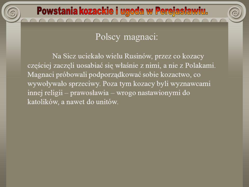 Polscy magnaci: Na Sicz uciekało wielu Rusinów, przez co kozacy częściej zaczęli uosabiać się właśnie z nimi, a nie z Polakami. Magnaci próbowali podp