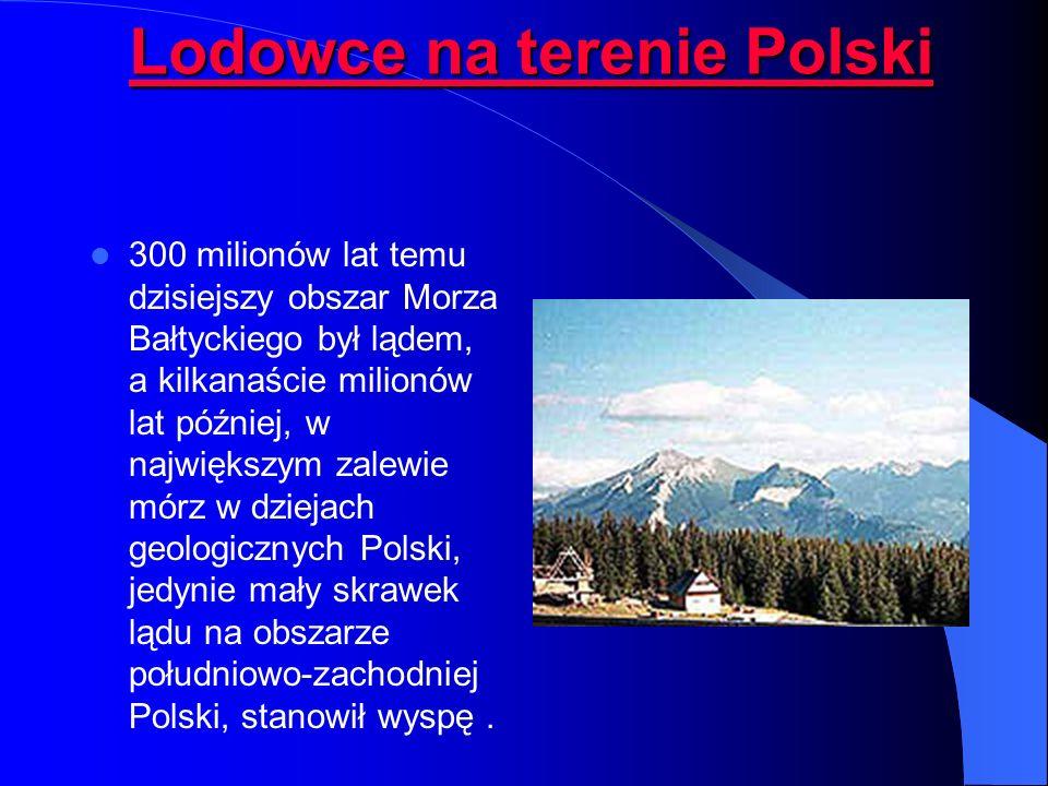 Lodowce na terenie Polski Lodowce na terenie Polski 300 milionów lat temu dzisiejszy obszar Morza Bałtyckiego był lądem, a kilkanaście milionów lat później, w największym zalewie mórz w dziejach geologicznych Polski, jedynie mały skrawek lądu na obszarze południowo-zachodniej Polski, stanowił wyspę.