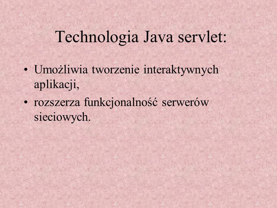 Technologia Java servlet: Umożliwia tworzenie interaktywnych aplikacji, rozszerza funkcjonalność serwerów sieciowych.