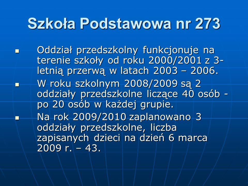 Szkoła Podstawowa nr 273 Oddział przedszkolny funkcjonuje na terenie szkoły od roku 2000/2001 z 3- letnią przerwą w latach 2003 – 2006. Oddział przeds