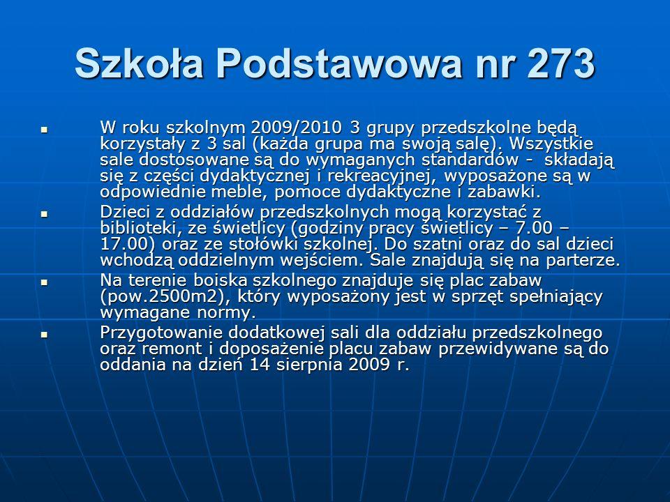 Szkoła Podstawowa nr 273 W roku szkolnym 2009/2010 3 grupy przedszkolne będą korzystały z 3 sal (każda grupa ma swoją salę). Wszystkie sale dostosowan