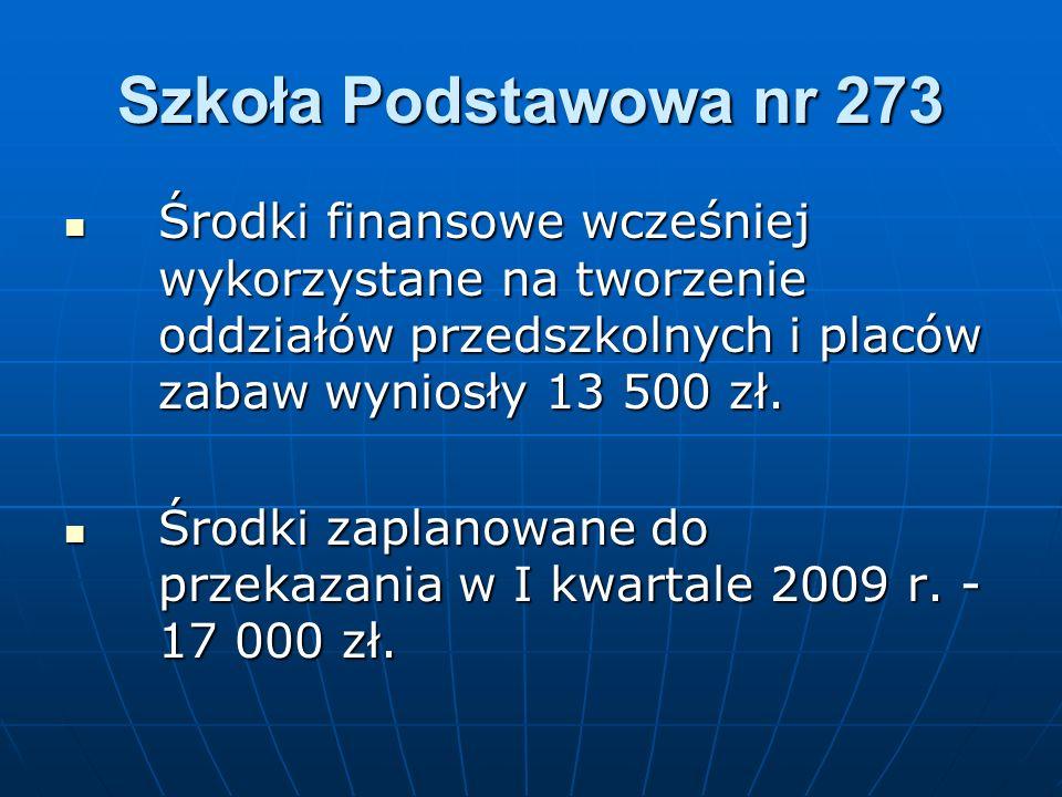 Szkoła Podstawowa nr 273 Środki finansowe wcześniej wykorzystane na tworzenie oddziałów przedszkolnych i placów zabaw wyniosły 13 500 zł. Środki finan