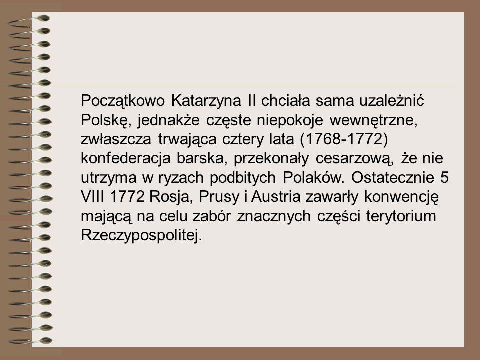 I Rozbiór Polski W wyniku I rozbioru Prusy uzyskały: Warmię, województwo pomorskie, malborskie i chełmińskie (bez Gdańska i Torunia) oraz tereny położone nad Notecią i Gopłem, łącznie 36 tys.