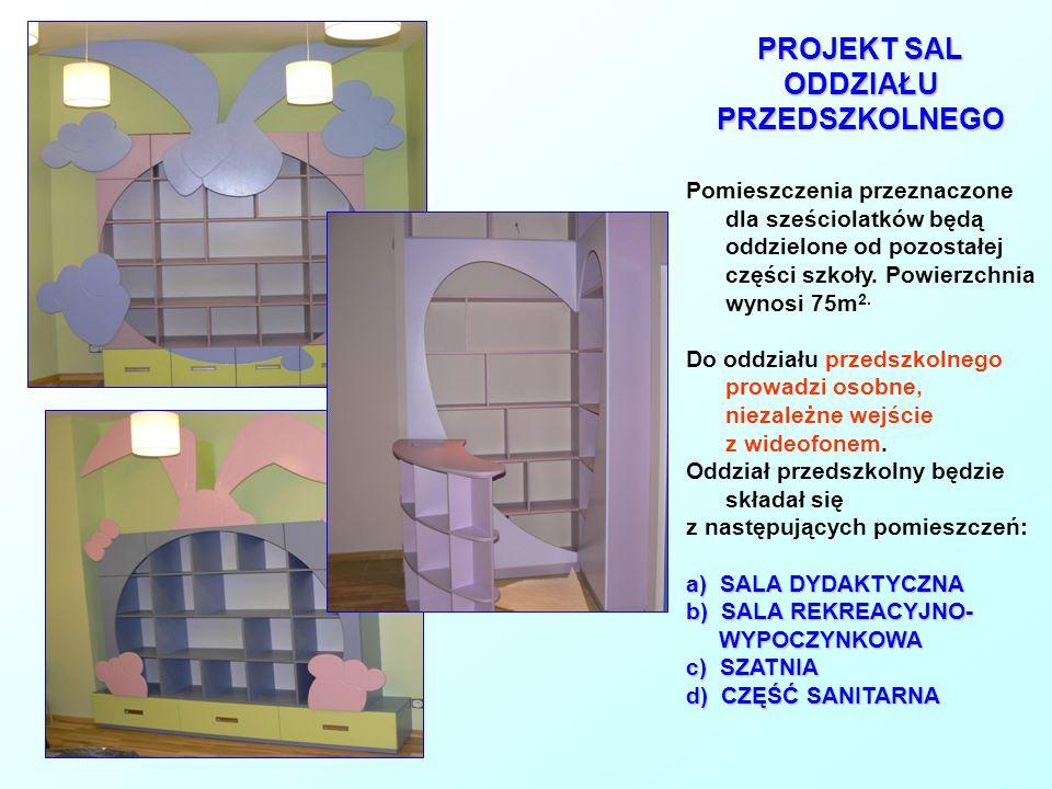 PROJEKT SAL ODDZIAŁU PRZEDSZKOLNEGO Pomieszczenia przeznaczone dla sześciolatków będą oddzielone od pozostałej części szkoły. Powierzchnia wynosi 75m