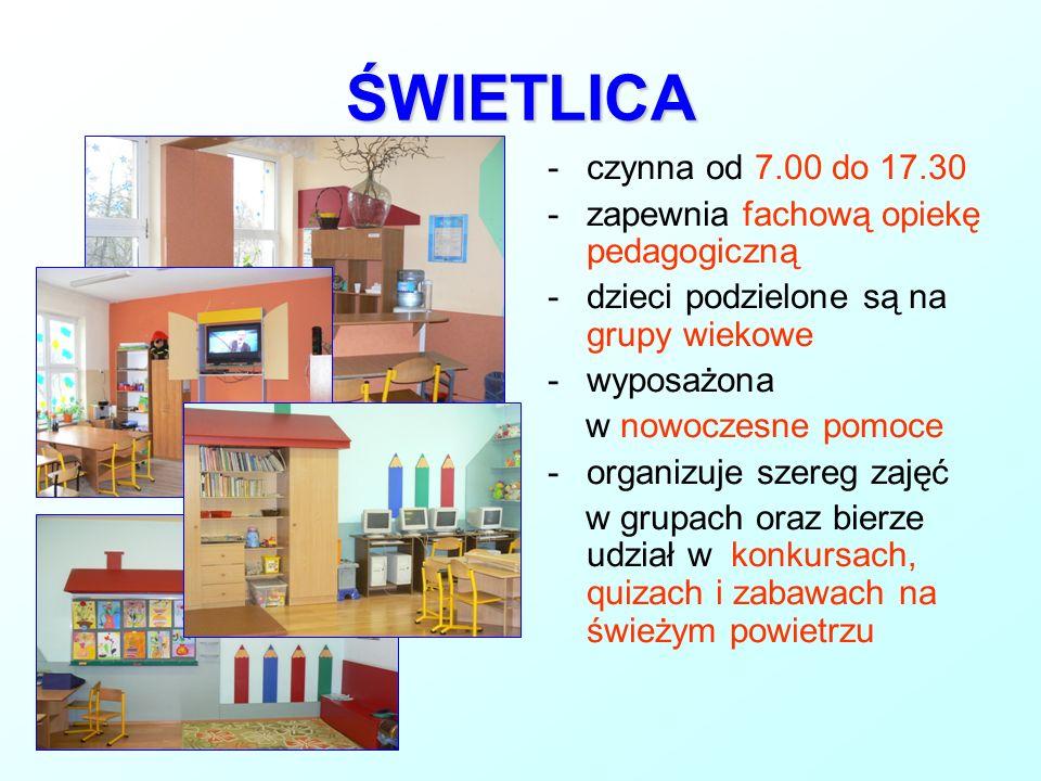 ŚWIETLICA -czynna od 7.00 do 17.30 -zapewnia fachową opiekę pedagogiczną -dzieci podzielone są na grupy wiekowe -wyposażona w nowoczesne pomoce -organ