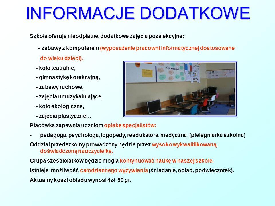 INFORMACJE DODATKOWE Szkoła oferuje nieodpłatne, dodatkowe zajęcia pozalekcyjne: - zabawy z komputerem (wyposażenie pracowni informatycznej dostosowan