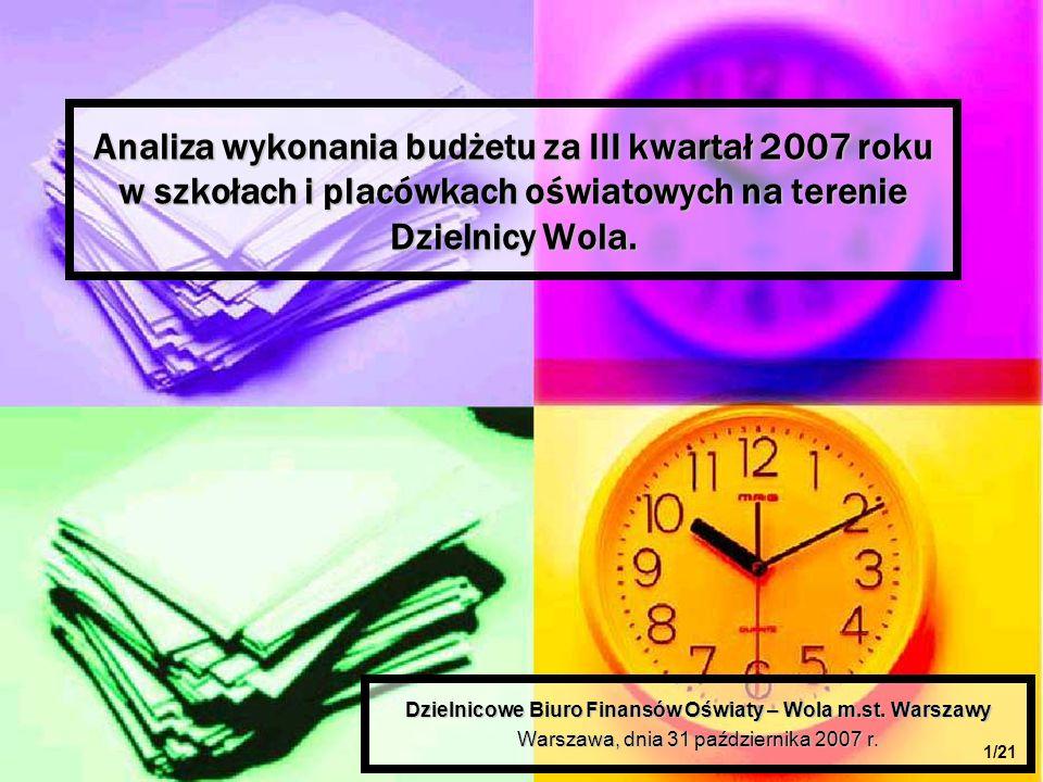 Analiza wykonania budżetu za III kwartał 2007 roku w szkołach i placówkach oświatowych na terenie Dzielnicy Wola.