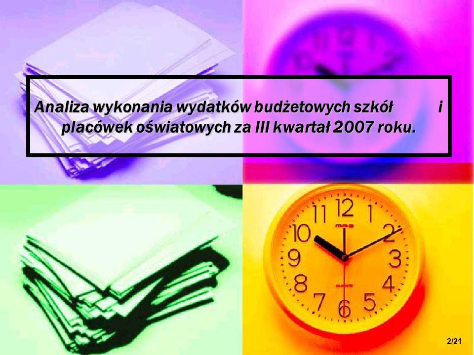 Analiza wykonania wydatków budżetowych szkół i placówek oświatowych za III kwartał 2007 roku. 2/21