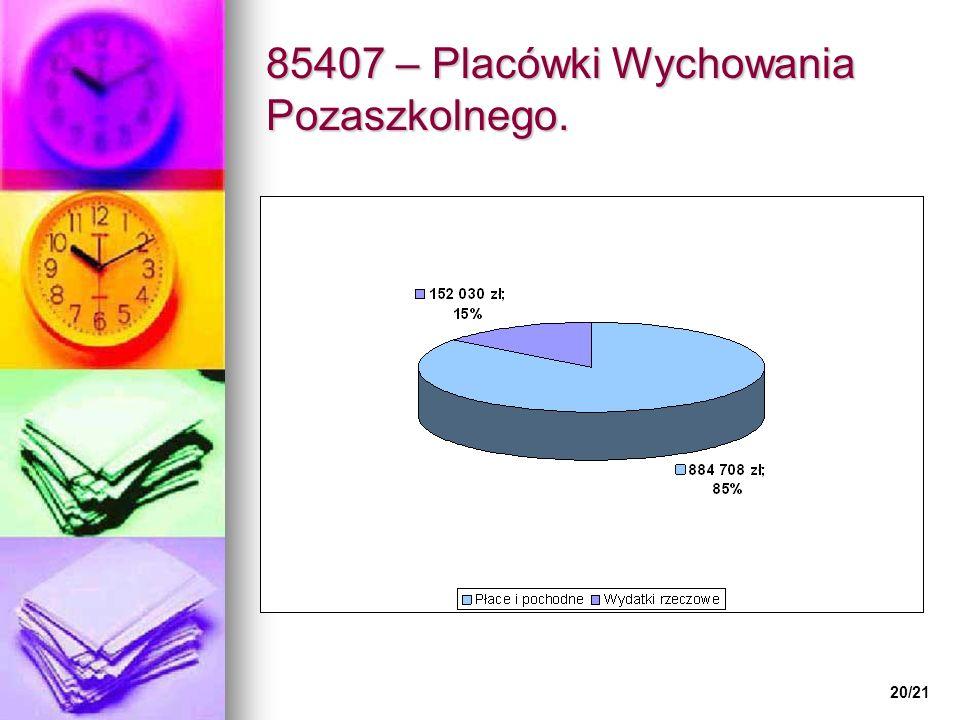 85407 – Placówki Wychowania Pozaszkolnego. 20/21