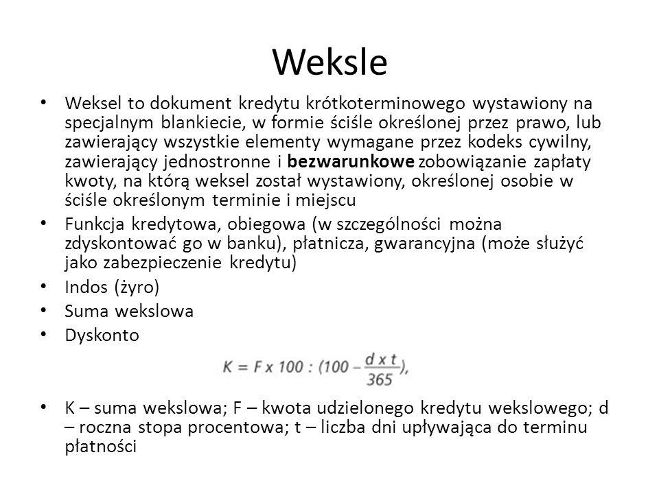 Weksle Weksel to dokument kredytu krótkoterminowego wystawiony na specjalnym blankiecie, w formie ściśle określonej przez prawo, lub zawierający wszys