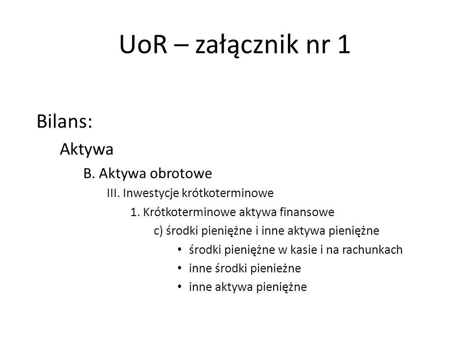 UoR – załącznik nr 1 Bilans: Aktywa B. Aktywa obrotowe III. Inwestycje krótkoterminowe 1. Krótkoterminowe aktywa finansowe c) środki pieniężne i inne
