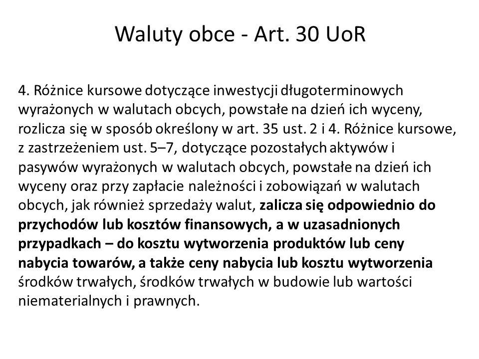 Waluty obce - Art. 30 UoR 4. Różnice kursowe dotyczące inwestycji długoterminowych wyrażonych w walutach obcych, powstałe na dzień ich wyceny, rozlicz