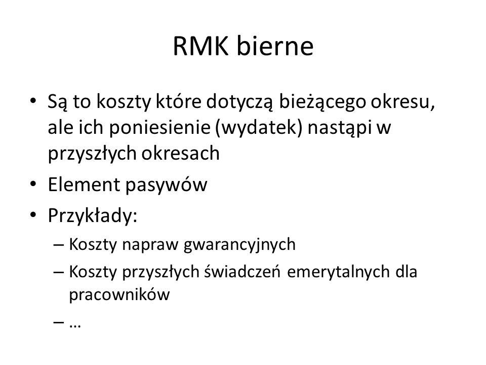 RMK bierne Są to koszty które dotyczą bieżącego okresu, ale ich poniesienie (wydatek) nastąpi w przyszłych okresach Element pasywów Przykłady: – Koszt