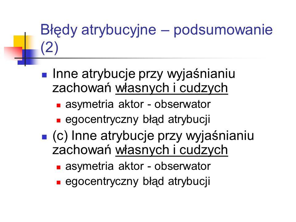 Błędy atrybucyjne – podsumowanie (2) Inne atrybucje przy wyjaśnianiu zachowań własnych i cudzych asymetria aktor - obserwator egocentryczny błąd atryb