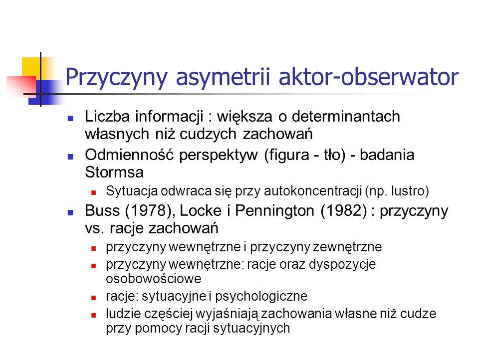 Przyczyny asymetrii aktor-obserwator Liczba informacji : większa o determinantach własnych niż cudzych zachowań Odmienność perspektyw (figura - tło) -