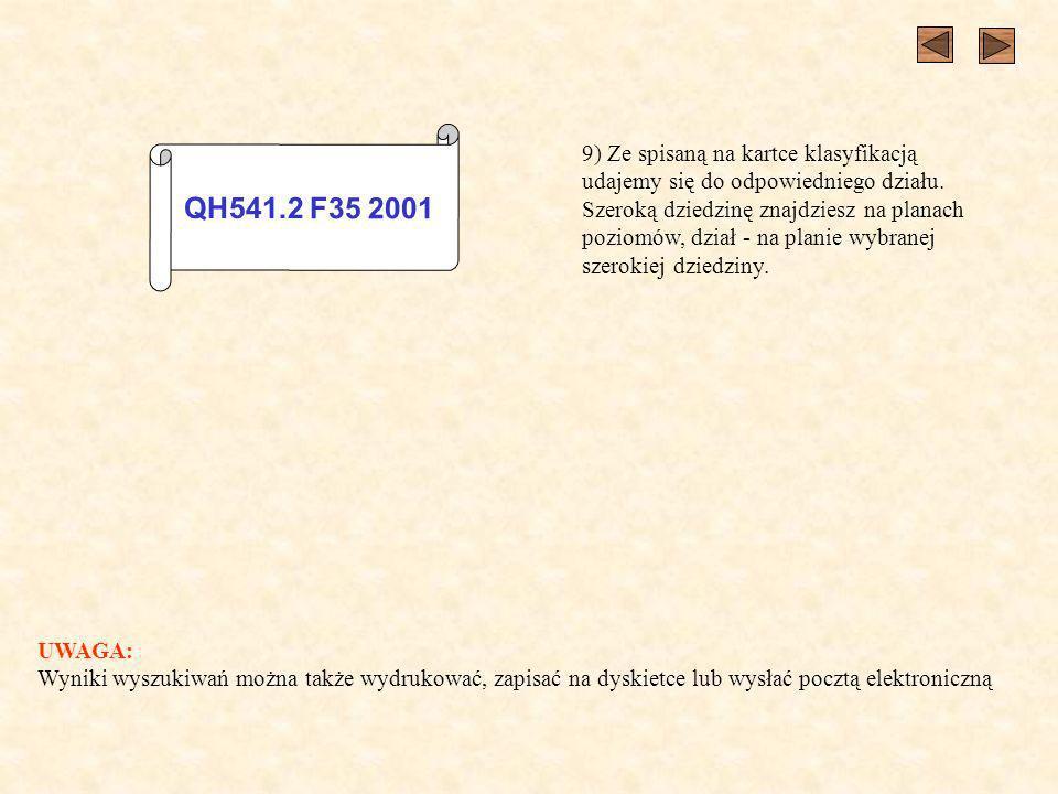 QH541.2 F35 2001 9) Ze spisaną na kartce klasyfikacją udajemy się do odpowiedniego działu.