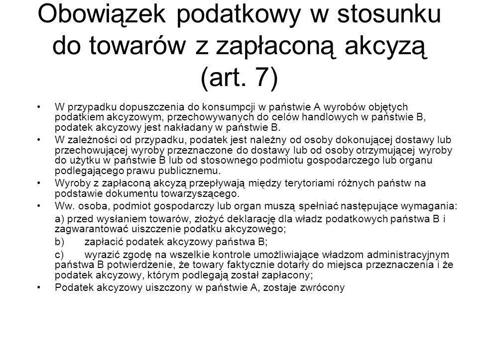 Obowiązek podatkowy w stosunku do towarów z zapłaconą akcyzą (art.