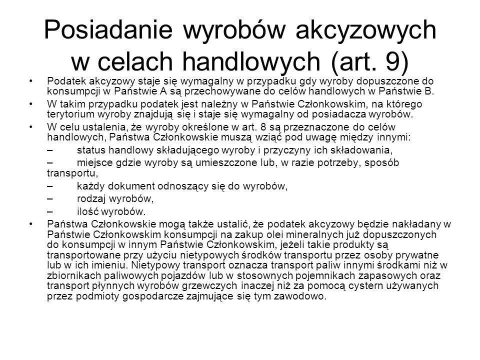 Posiadanie wyrobów akcyzowych w celach handlowych (art.