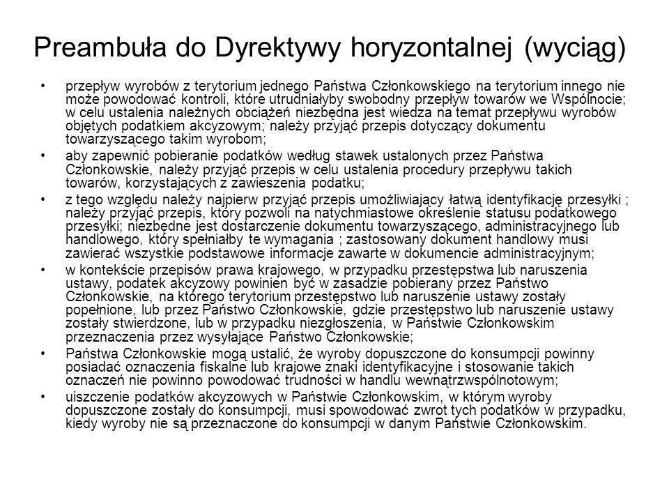 PRZEMIESZCZANIE WYROBÓW AKCYZOWYCH Z ZAPŁACONĄ AKCYZĄ SKŁAD A płaci akcyzę w swoim kraju WSPÓLNOTA POLSKA PRZEDSIĘBIORCA B płaci akcyzę w Polsce, co daje podstawę do zwrotu podatku zapłaconego przez skład A WDT WNT