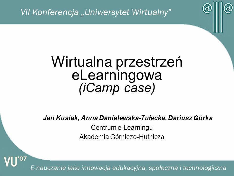 Wirtualna przestrzeń eLearningowa (iCamp case) Jan Kusiak, Anna Danielewska-Tułecka, Dariusz Górka Centrum e-Learningu Akademia Górniczo-Hutnicza