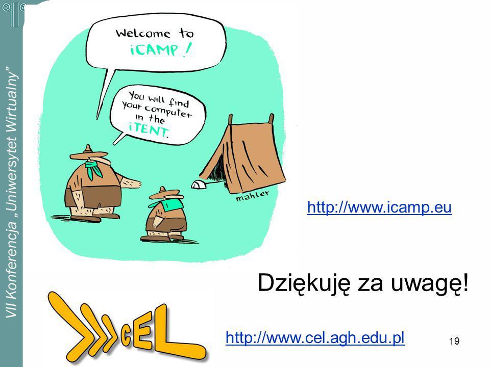 19 Dziękuję za uwagę! http://www.icamp.eu http://www.cel.agh.edu.pl
