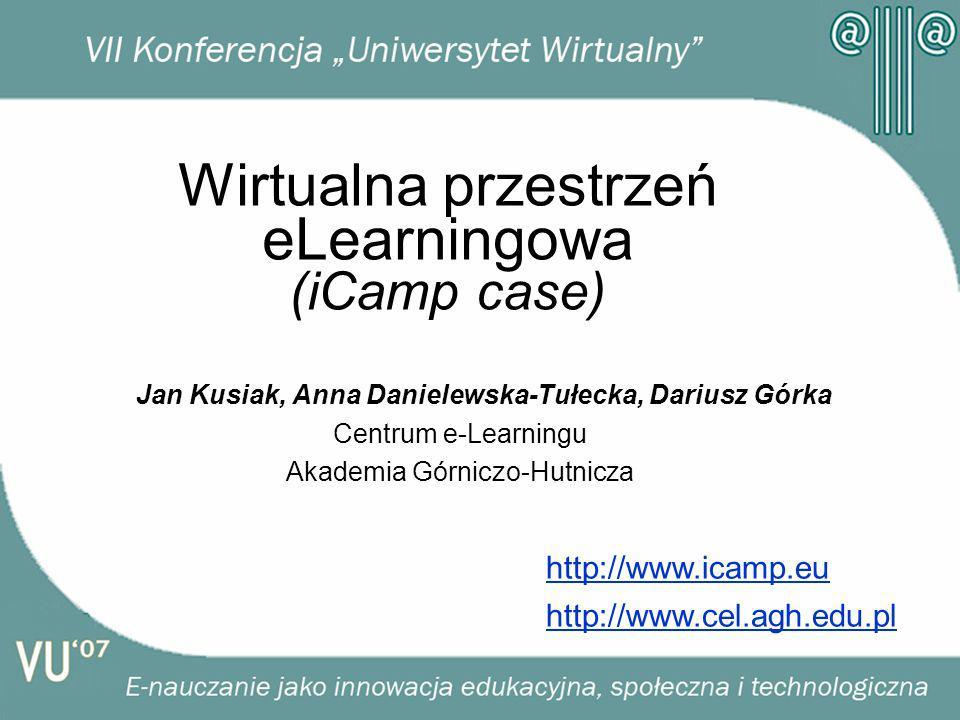 Wirtualna przestrzeń eLearningowa (iCamp case) Jan Kusiak, Anna Danielewska-Tułecka, Dariusz Górka Centrum e-Learningu Akademia Górniczo-Hutnicza http://www.icamp.eu http://www.cel.agh.edu.pl