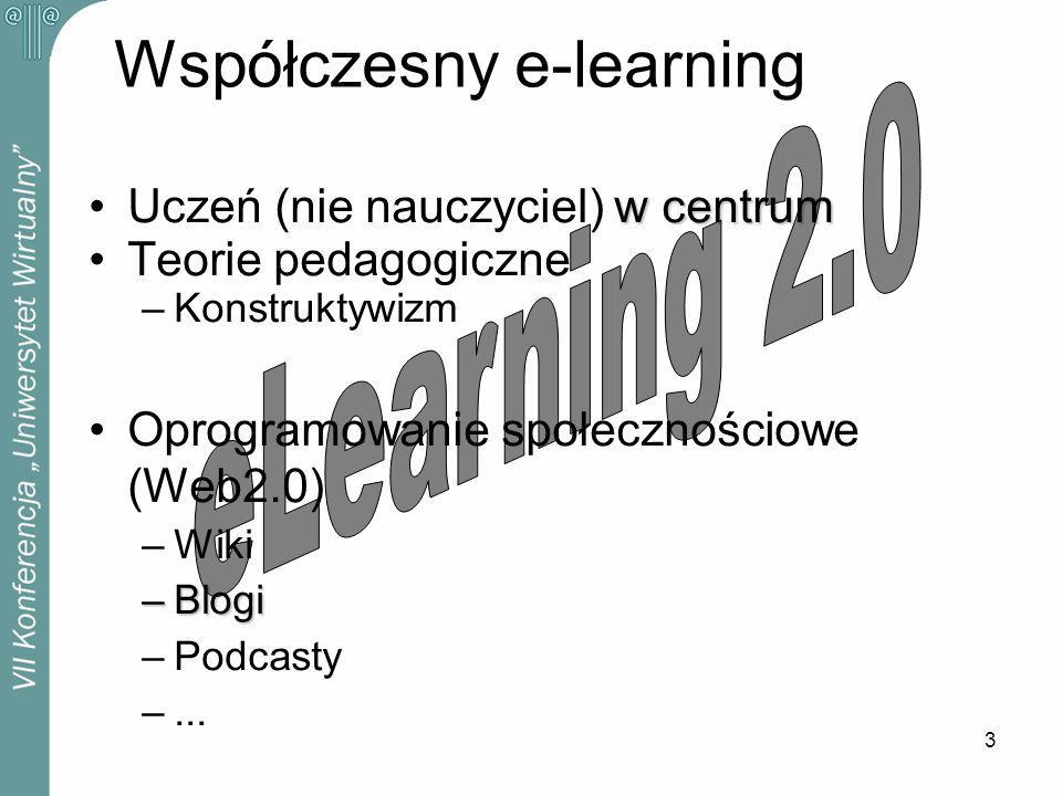 3 Współczesny e-learning w centrumUczeń (nie nauczyciel) w centrum Teorie pedagogiczne –Konstruktywizm Oprogramowanie społecznościowe (Web2.0) –Wiki –Blogi –Podcasty –...