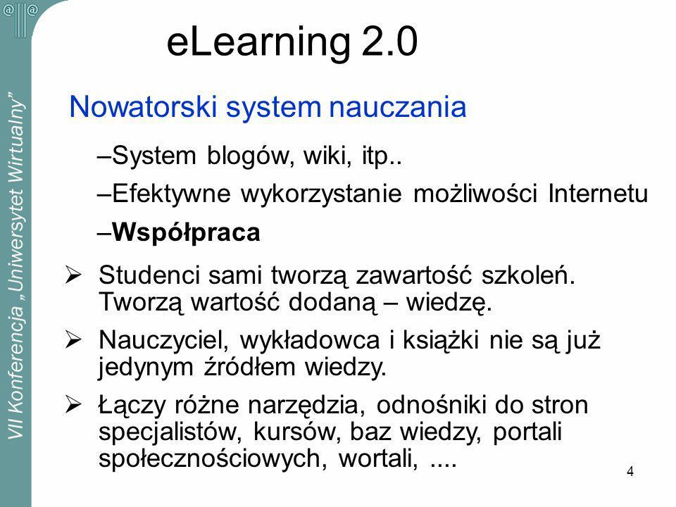 4 eLearning 2.0 Nowatorski system nauczania –System blogów, wiki, itp..